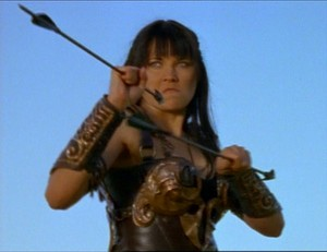 Xena looks all sad and frowny about being shot at.