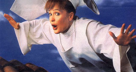here is Gillian Anderson as the Flying Nun.