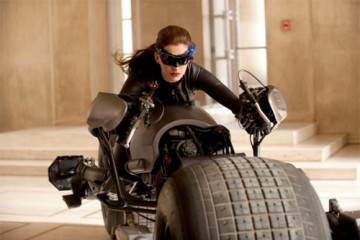 Anne Hathaway on the set of the third Nolan Batman film.