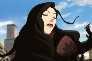 Asami, whippin' her hair back and forth.