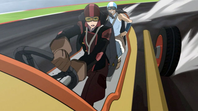 It's when Asami is taking Korra for a ride in her racecar that you realize they are both the best and love triangles are for the birds and both women should be happy forever.