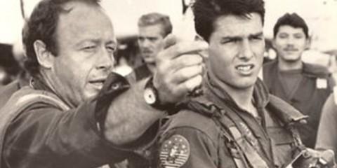 Tony Scott directing Tom Cruise on the set of Top Gun.