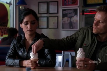 The guy tries to mess with her ice cream and she eats it anyways! See she doesn't care!